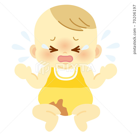 Baby with a crying face with unpleasant poop stains on baby clothes_Baby full body illustration 70 70206197