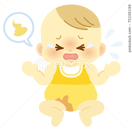 Baby with a crying face that conveys the poop stains on baby clothes with a balloon_Baby full body illustration 71 70206198