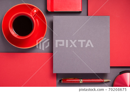notebook with pen and cup of coffee 70208675