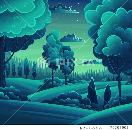Night In Forest Vector Art Cartoon Stock Illustration 70208901 Pixta 'twas the night before christmas (1974 tv short). https www pixtastock com illustration 70208901