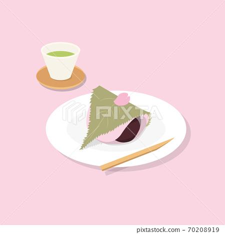 春季日本甜點抹茶和櫻花年糕 70208919