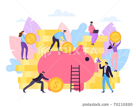 Money piggy banking with coin, financial save vector illustration. Finance flat cash banking, business wealth cartoon investment. 70210880