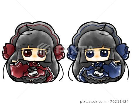 레드 × 블루 귀여운 일본 로리 하라주쿠 계의 쌍둥이 메이드 70211484