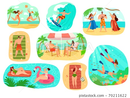 Beach people vector illustration set, cartoon flat active happy man woman character in sport activity, sunbathing, surfing isolated on white 70211622