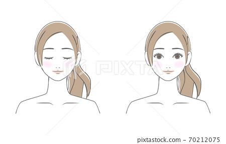 젊은 여성의 얼굴 손으로 그린 선화 일러스트 70212075