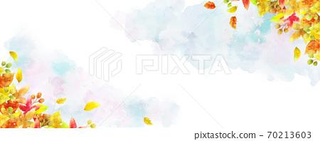 落叶水彩框架(蓝色背景) 70213603