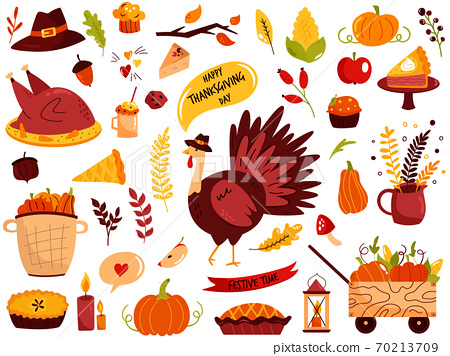 Big set of Thanksgiving symbols turkey, pie, pumpkin, corn, sweets 70213709