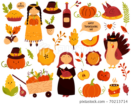 Big set of Thanksgiving symbols turkey, pie, pumpkin, corn, sweets 70213714