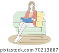 A woman relaxing on the sofa while reading a book (no lights) 70213887