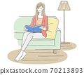 A woman relaxing on the sofa while reading a book 70213893