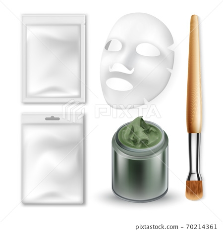 Facial Mask And Make-up Brush Cosmetics Set Vector 70214361