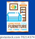 Living Room Furniture Promotional Poster Vector 70214374