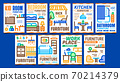 Home Rooms Furniture Promo Posters Set Vector 70214379