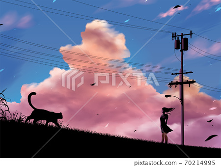 silhouette of a Japanese girl student standing on the road in the countryside 70214995