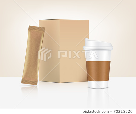 3D Glossy Stick sachet mockup and Cup with paper box isolated on white background. Vector illustration. Food and beverage Packaging concept design. 70215326