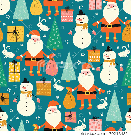 Christmas seamless vector pattern with Santa Claus, snowmen, presents, bunny and Christmas trees 70218482