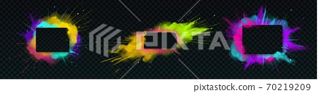 Paint powder explotion with rectangle banner 70219209