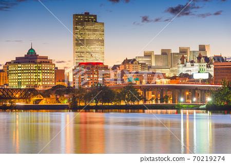 Albany, New York, USA skyline on the Hudson River 70219274