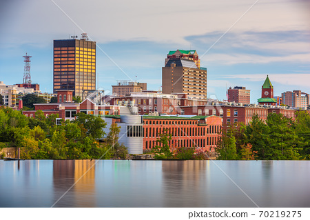 Manchester, New Hampshire, USA Skyline on the Merrimack River 70219275