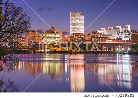 Albany, New York, USA skyline on the Hudson River 70219282