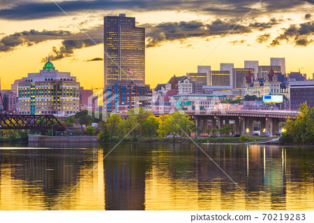 Albany, New York, USA skyline on the Hudson River 70219283