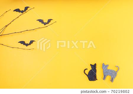 Halloween scene on orange background 70219802