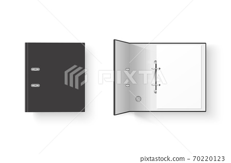 Vector 3d Closed and Opened Realistic Black Blank Office Binder Set with Metal Rings and A4 Paper Sheet Closeup Isolated on White Background. Design Template, Mockup, Top View 70220123