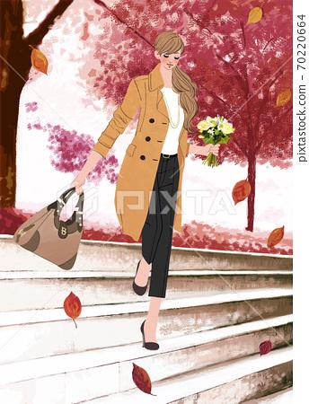 낙엽이 흩 날리는 공원 계단을 꽃다발을 들고 걷는 여자 일러스트 70220664