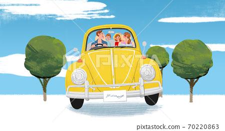 一家人開車旅行的插圖 70220863