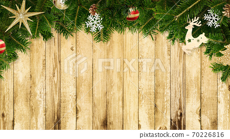 Wooden walls with Christmas decorations-there are multiple variations 70226816