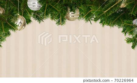 用樅樹和裝飾品裝飾的條紋背景-有多種變化 70226964
