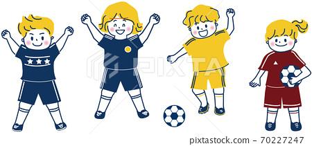 축구에서 기뻐 아이들의 일러스트 70227247