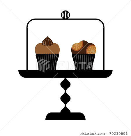 Muffins in the cake dome 70230691