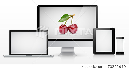 Laptop, monitor, tablet computer and smartphone with blank screen 70231030
