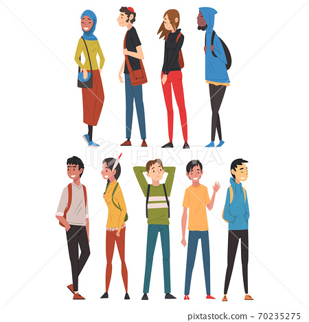 Cheerful Guys and Girls in Casual Clothes Collection, International College or University Students Characters Vector Illustration 70235275