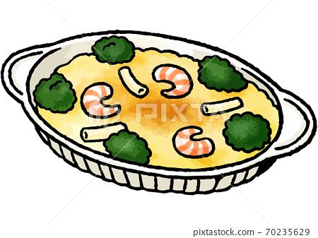 [手繪食物插圖]蝦通心粉焗烤插圖 70235629
