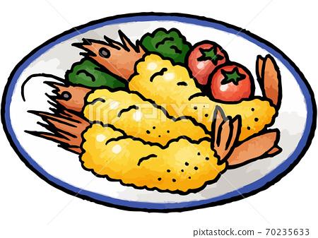 [Hand-painted food illustration] Illustration of fried shrimp 70235633