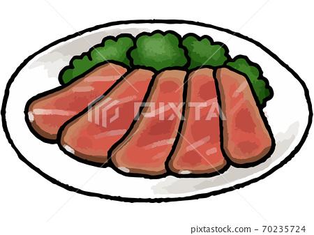 [手繪食物插圖]烤牛肉插圖 70235724