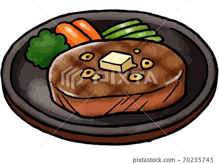[手繪食物插圖]鐵板上一塊牛排的插圖 70235743
