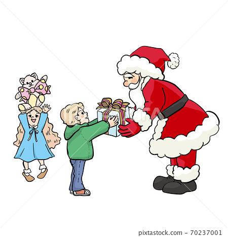 孩子們收到聖誕老人的禮物 70237001
