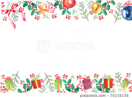 Christmas frame drawn in watercolor 70238156