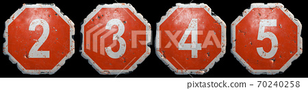 Set of numbers 2, 3, 4, 5 made of public road sign in red and white with a capital in the center isolated on black background. 3d 70240258