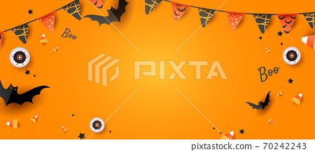 Spooky and fun Halloween design frame with eyeball, color candy, decorations, bats on orange background. Horizontal holiday poster, header for website 70242243