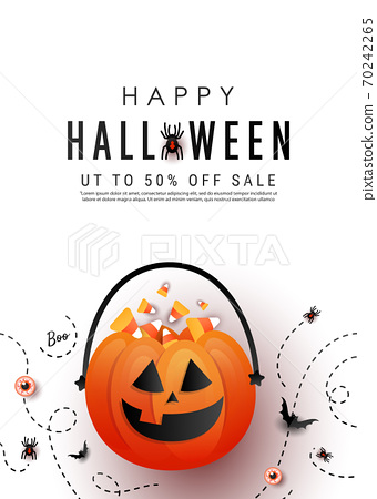 Happy Halloween vertical promotion banner with candy pumpkin bag, color candy, bats, spider on white background. Flat lay, copy space 70242265