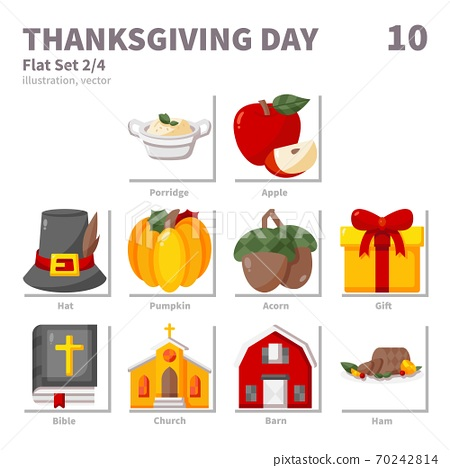 Thanksgiving Day icons set, Flat, vector and illustration set 2 70242814