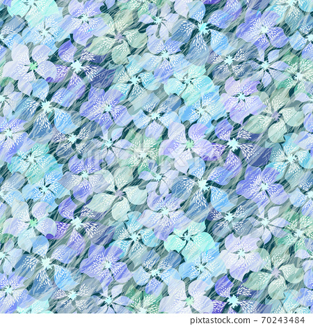 Beautiful softness blue floral vector seamless pattern. Different brightness abstract motley blue flowers under water waves.  70243484