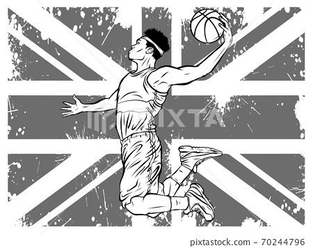 Black male basketball player running while bouncing the ball in a dynamic position. 70244796