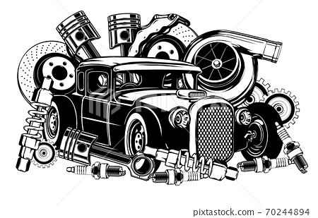 Vintage car and components collection in black and white 70244894