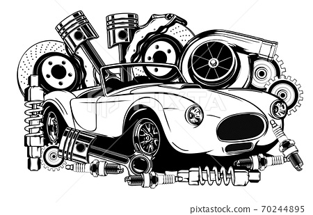 Vintage car and components collection in black and white 70244895
