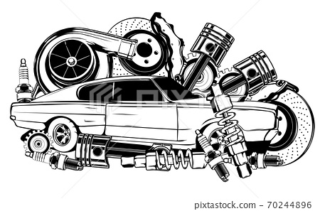 Vintage car and components collection in black and white 70244896